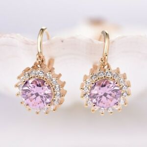 Lady-Party-Round-Pink-Cubic-Zirconia-Gemstone-Gold-Flower-Dangle-Earrings-0-6-034