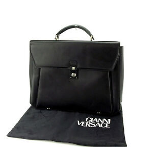 Gianni-Versace-Business-bag-Medusa-Black-Silver-Mens-Authentic-Used-Y5032