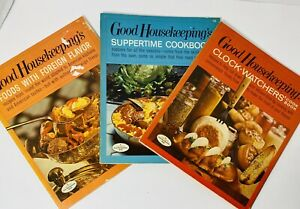 Lot of 3 Vintage GOOD HOUSEKEEPING Company Cookbooks Supper Clock Watch Foreign