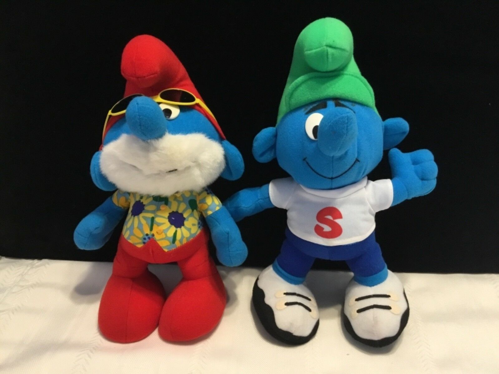 "Lot of 2 PEYO 1996 Stuffed 10"" PAPA PAPA PAPA & Green Hat HUG A SMURF Toy figures  (T70) 79afc6"
