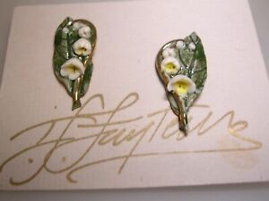 BEAUTIFUL-ARTISAN-CRAFTED-PORCELAIN-LILY-OF-THE-VALLEY-EARRINGS