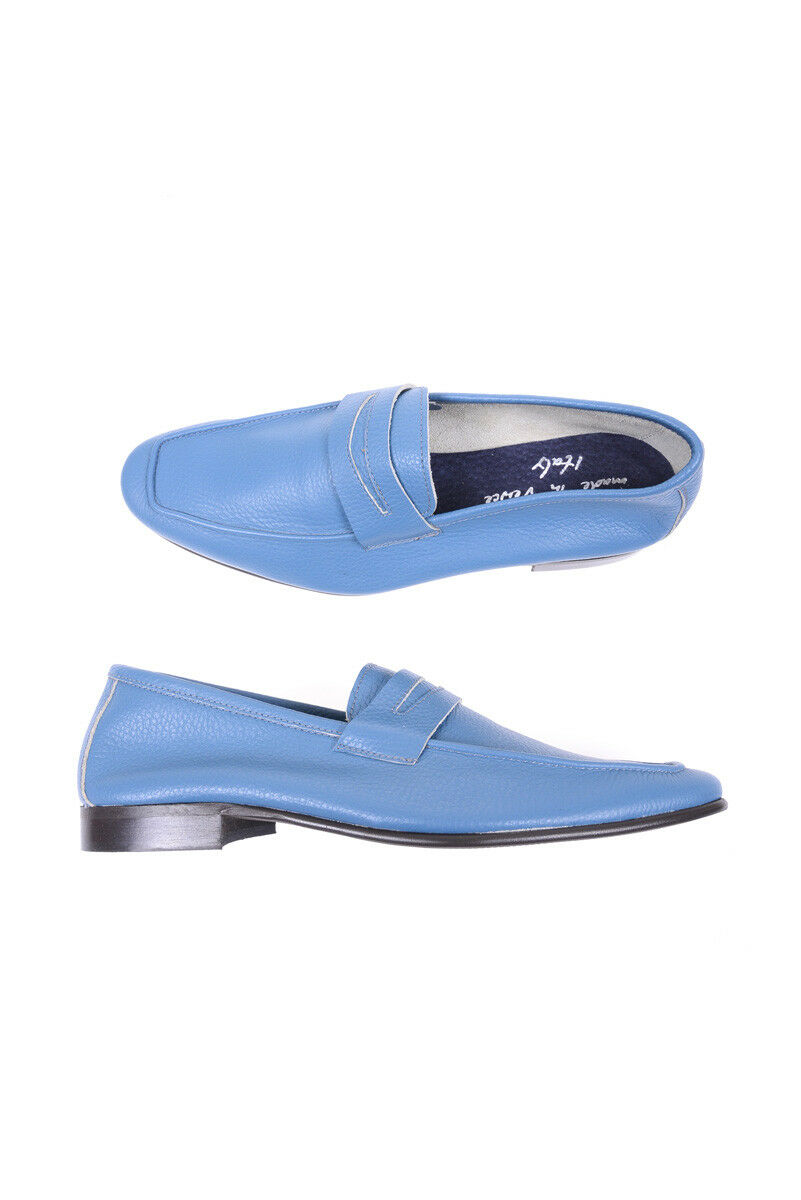 Mocassino Daniele Alessandrini Moccasin shoes Pelle men Azzurro F633K283500 21