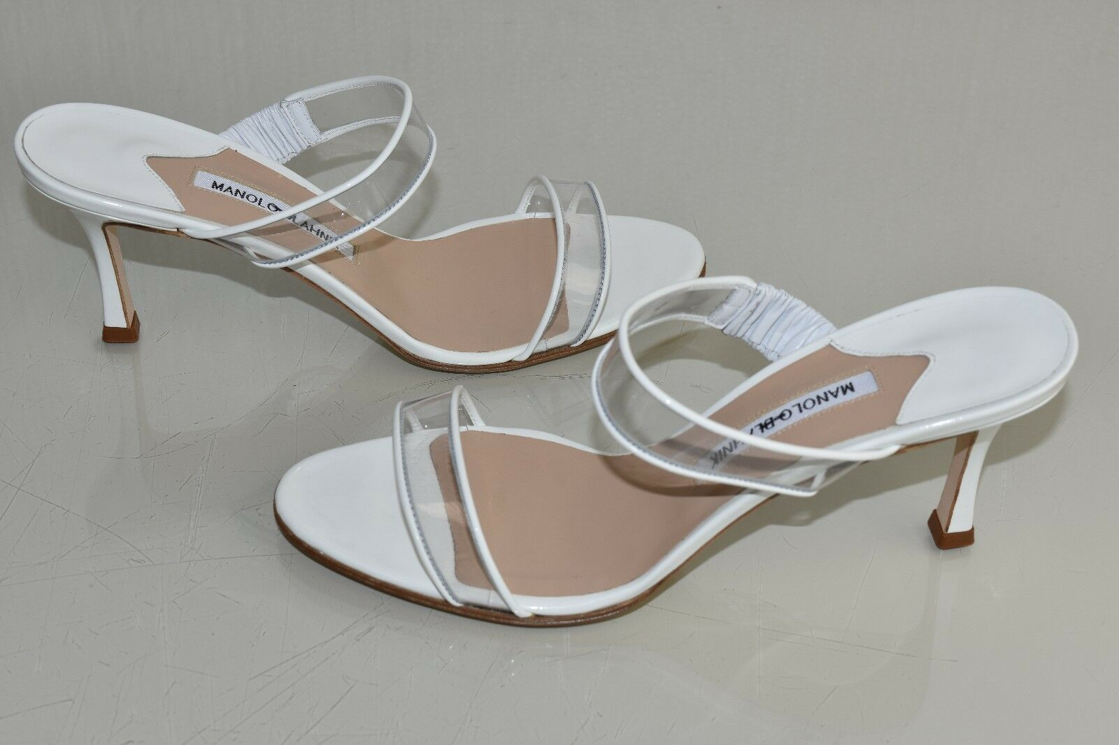 Neu Manolo Blahnik Muluca PVC Sandalen Patent Weiß Slip Absatz Schuhe 40.5