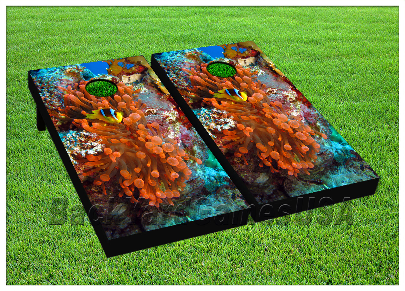 CORNHOLE BEANBAG TOSS GAME w Bags Game Boards Marine Life Set 1080