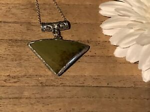 Recycled-Broken-Porcelain-Jewelry-Green-Triangle-Pendant