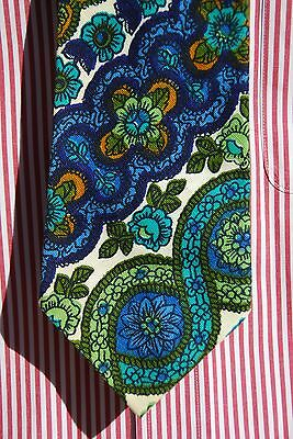 Gentleman's Green, Blue, White, & Brown Paisley Vintage 1970s Cotton Tie