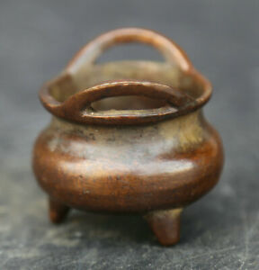 53MM-Collect-Bronze-China-Fengshui-Two-Ear-Tripodia-Small-Censer-Incense-Burner