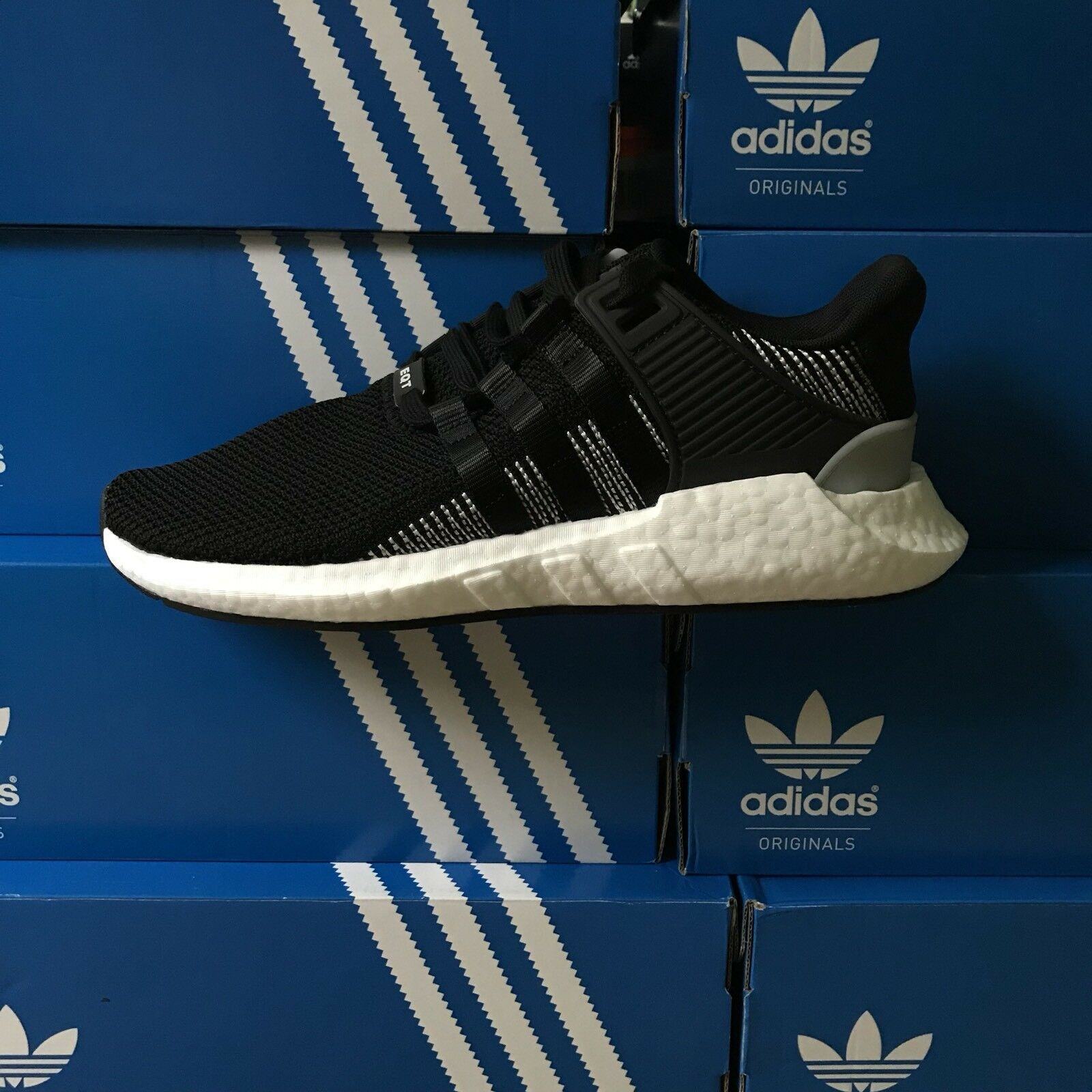 Adidas EQT Support 93/17 Boost Size 11 Core Black White Running Shoes BY9509
