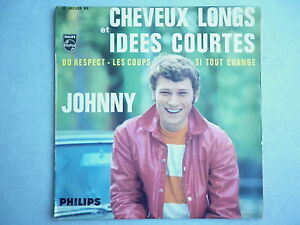 Johnny-Hallyday-45Tours-EP-vinyle-Cheveux-Longs-Et-Idees-Courtes