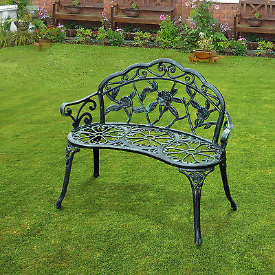 Outdoor Bench Patio Garden Porch Cast Aluminum Seater Antique Style Elegant Park