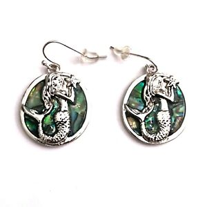Rockabilly 50s 60s 90s Gothic Punk Mermaid Abalone Shell Earrings Ear Ring Studs
