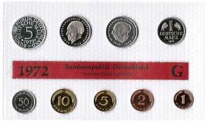 Kurssatz Bundesrepublik Deutschland 1972G 1Pf. bis 5 DM Polierte Platte 56053