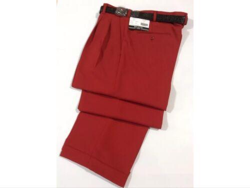 MEN/'S RED PLEATED DRESS PANTS SLACKS TROUSERS BLACK BELT CUFFED BOTTOMS NEW!!