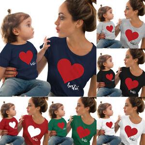 T-shirt-de-Chemise-de-Mere-Fille-Coeur-Imprimes-Famille-Assorties-Costume-Hauts