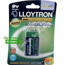 1 x Lloytron 9V PP3 Rechargeable Battery 250 mAh 6LR61