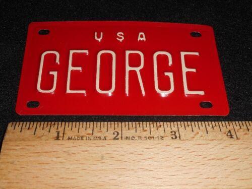 """VTG 1960/'s USA MINI BIKE LICENSE VANITY PLATE METAL EMBOSSED NOS NAME /""""GEORGE/"""""""
