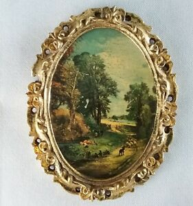 The Cornfield by Constable in Italian Oval Handcraved Wooden Picture Frame