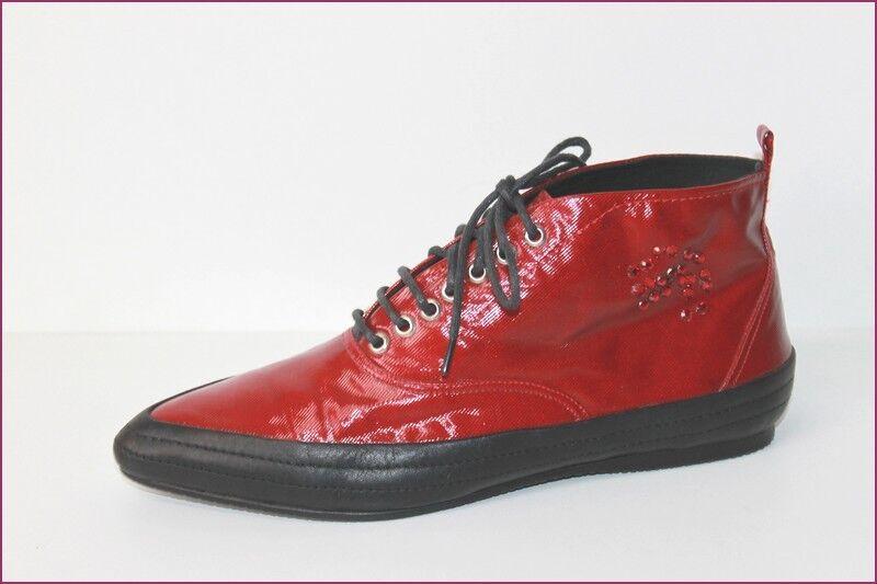 KESSLORD bottes Pointues Cuir et Textile rouge T 36 TTBE