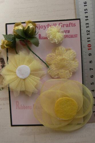 YELLOW /& GOLD Mix Fabric Organza Lace 7 Flower Pk 20-80 mm Njoyfull Crafts T