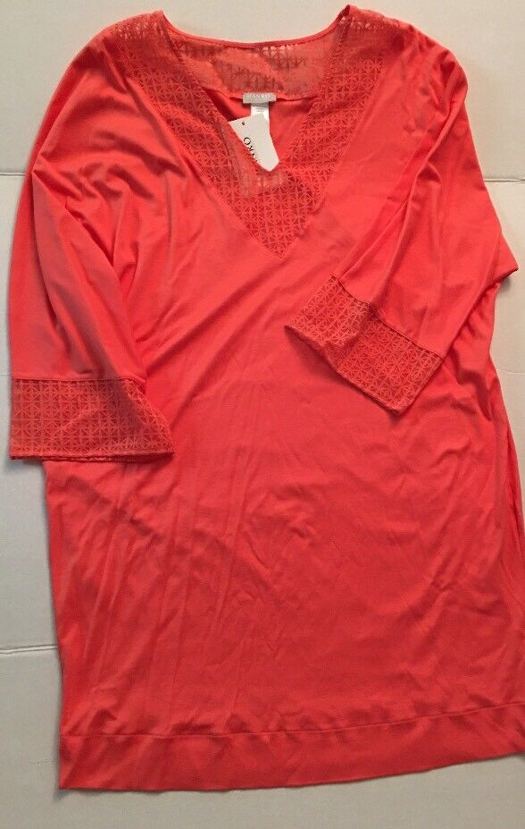 HANRO MATHILDE 3 4 SLEEVE NIGHTGOWN SLEEPSHIRT NWT 6172 CORAL SWIM COVERUP Sz L