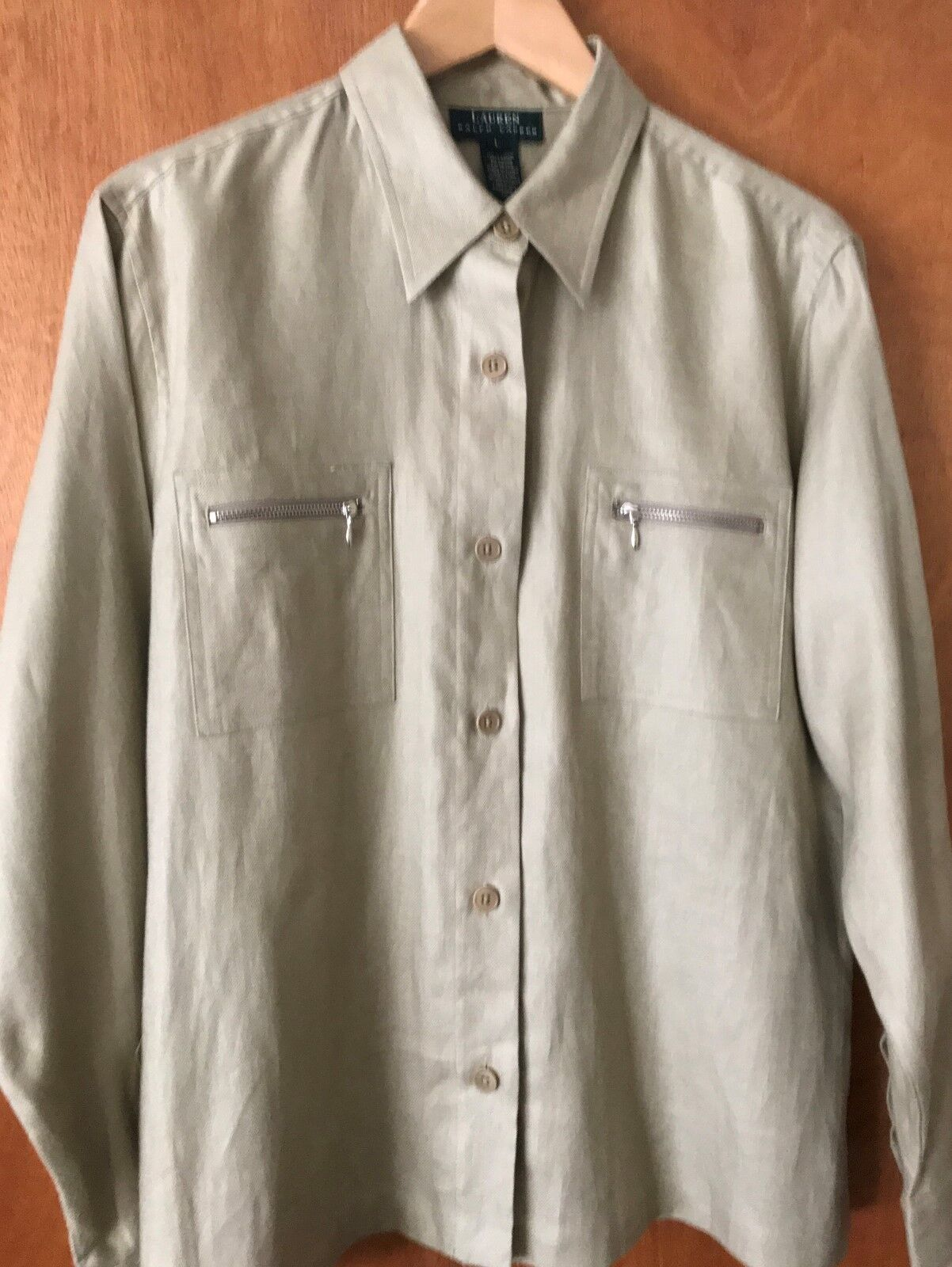 Lauren Ralph Lauren 100%Linen (Woherren) S LMedium Olive Long Sleeve Career Shirt
