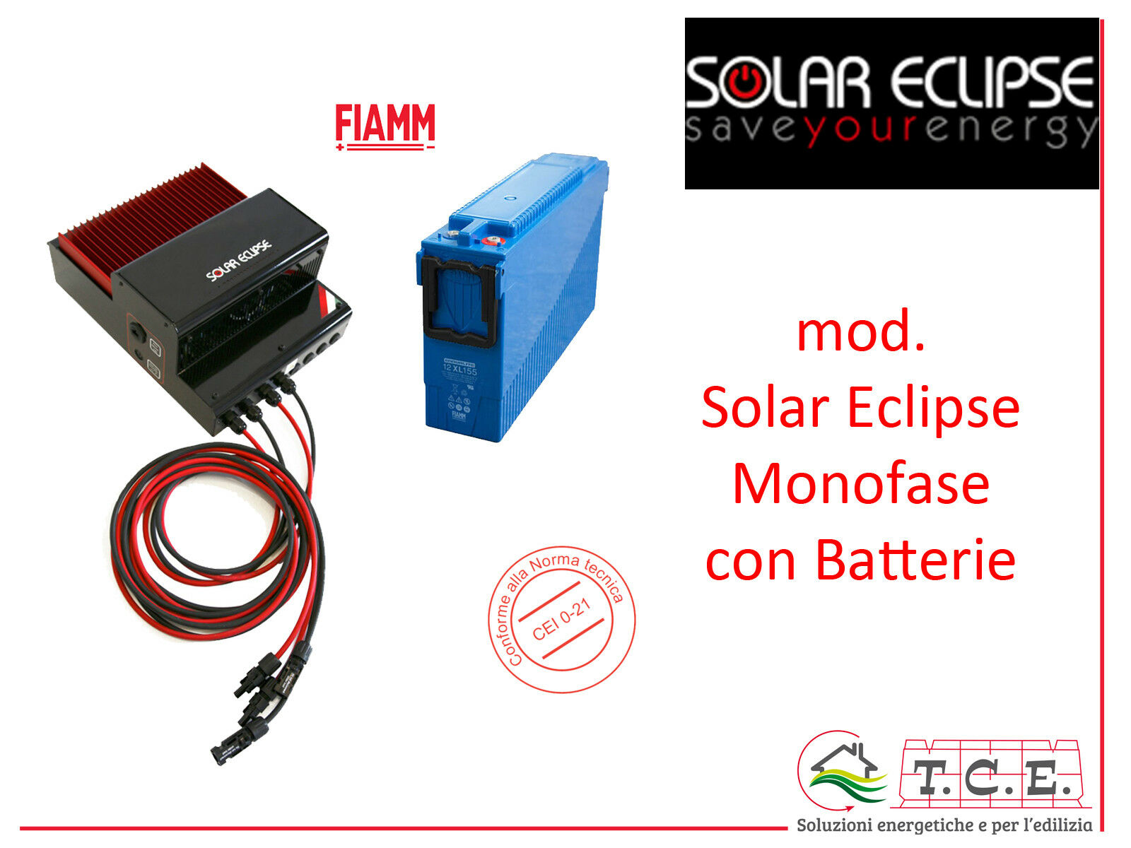 System of accumulation Storage Solar Eclipse Photovoltaic single phase with Batteries