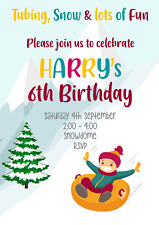 Sledging Personalised Party Invitations ticket Tobogganing Snow Play