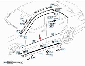Mercedes-Benz-Clase-E-W212-Frontal-Izquierda-Puerta-Moldura-A2126902562-Original