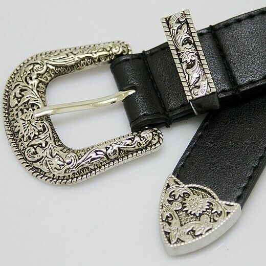 Western Cowboy//Cowgirl Rodeo Rope Edge Antique Silver Buckle Set