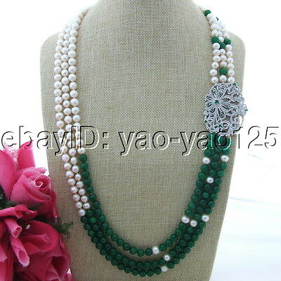 """S113001 30/""""-33/"""" White Round Pearl Green Jade Necklace CZ Pendant"""