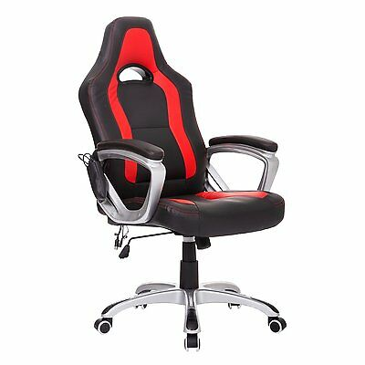 High Back Gaming Chair Home Office Executive Vibrating Heated Computer Game Race