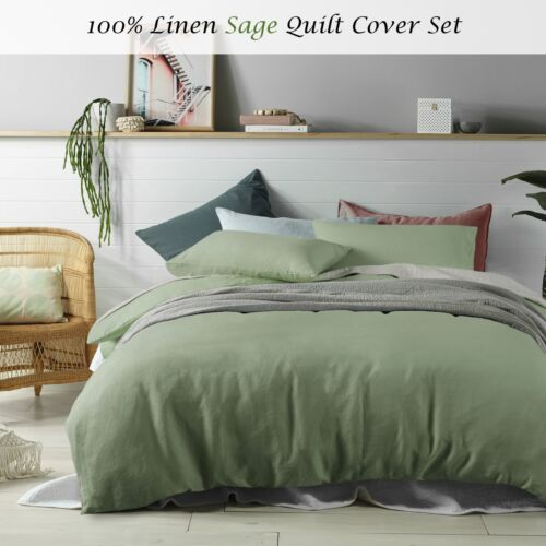 SINGLE DOUBLE QUEEN KING Super King 100/% Linen Sage Quilt Cover Set