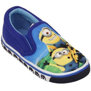 Boys-Minions-Pumps-Kids-Trainers-Slip-On-Flat-Despicable-Me-Canvas-Summer-Shoes
