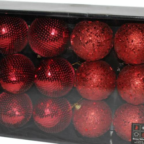 Box of 12 Bead /& Sequin Christmas 80mm Baubles Red