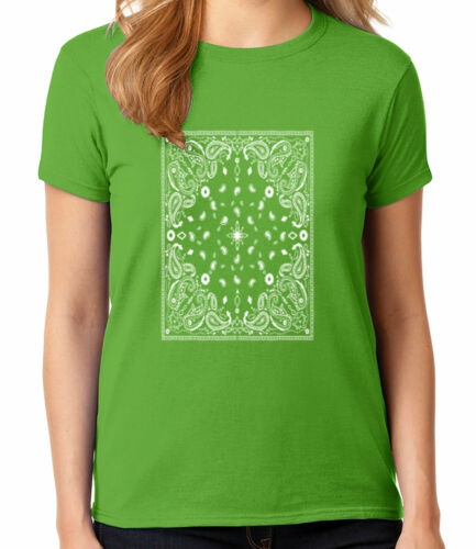 Bandana Pattern Ladies T-shirt Paisley Print Women/'s Tee 1731C