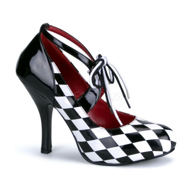a797e9a78 Diamond Checkered Harlequin Ankle Strap PUMPS High HEELS Shoes Adult ...