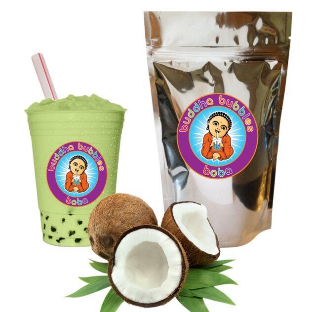Green Coconut  Boba / Bubble Tea Powder by Buddha Bubbles Boba (10 Ounces)