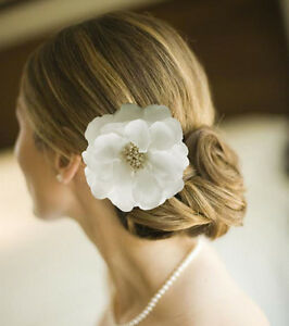 44 big white bridal hair flower clip hair band brooch wedding image is loading 4 4 034 big white bridal hair flower mightylinksfo