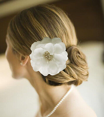 "4.4"" Big White Bridal Hair Flower Clip Hair Band Brooch Wedding Bridesmai"