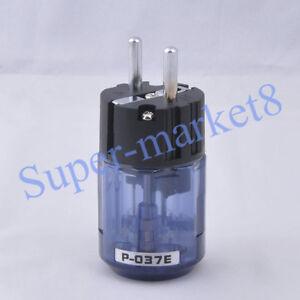 Audio-AMP-Schuko-EUR-Power-Plug-Rhodium-Plate-Transparent-Blue