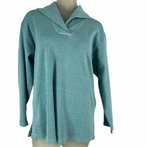 Fresh-produce-woman-s-ribbed-knit-top-tunic-size-medium-green-cotton