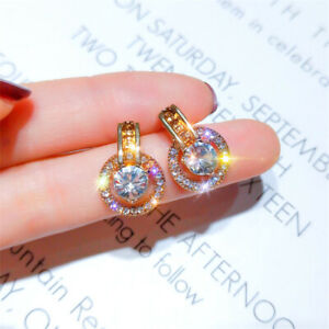 New-Fashion-18K-Gold-Round-Zircon-Hoop-Earrings-Dangle-Dop-Earrings-Jewelry