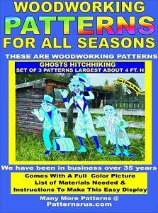 Ghosts Hitchhiking Set Of 3 Pattern Yard Art Halloween Woodworking Plan Ebay