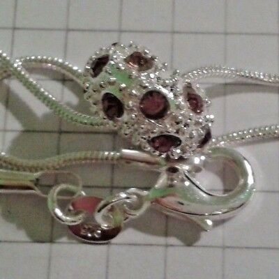"Jewelry & Watches Smart Sterling Silver Snake Necklace 20""or22""or24""+czech Rose/wine Crystal In Box"