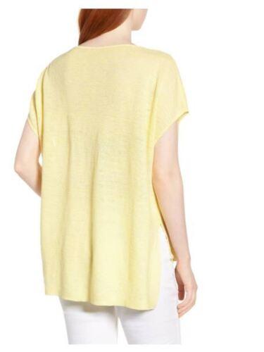 XL L Eileen Fisher Yarrow Bateau Neck Hi-Lo Linen Melange Tunic Poncho Top M