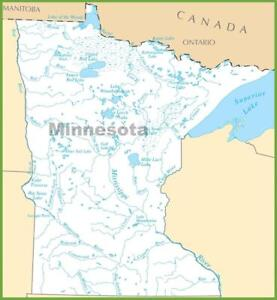 Minnesota Map With Lakes.Minnesota State Lake Map Glossy Poster Picture Photo Print River
