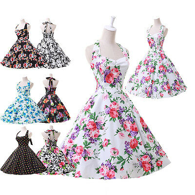 Housewife Vintage Retro 50s 40s Swing Floral Evening Party Pinup Tea Dress CHEAP