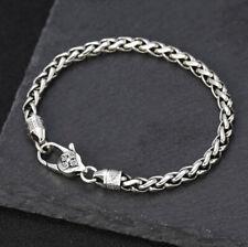 I07 Armband Silber 925 Kordelkette Vajra 6-Wort-Mantra buddhistisch 20 cm