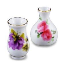 DOLLHOUSE Vase Pair Pansy Roses1.379/5 Reutter Porcelain Miniature 1:12 gemjane