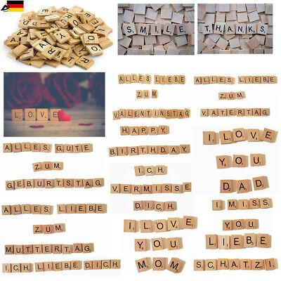 200stk Holz Buchstaben Zahlen Scrabble Spiel Steine Alphabet Botschaft DIY